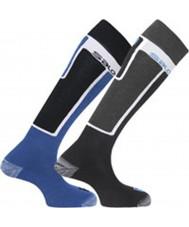Salomon 355960-BLABLU-S Elios musta ja sininen sukat 2 kpl - koko s (uk 3,5-5)