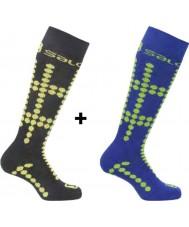 Salomon 355971-BLAYELGRN-XS Lapset joukkue nuorempi musta ja keltainen sukat 2 kpl - koko XS (uk 6,5-9)